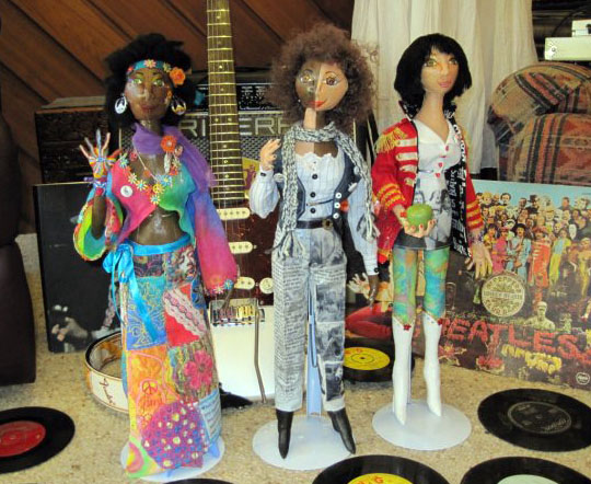 EmilyBeckettsgroupie dolls,BobDylan,JimHendrix,Beatles